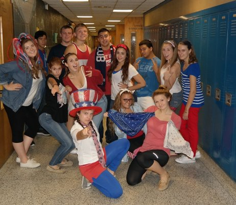 senior red white blue day