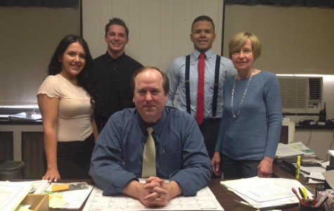 Mr. Hunninghake (center), with students  (left to right) Nafin Elias, Jake Ciuba, Julio Aybar and VP Secretary, Monica Glodzik