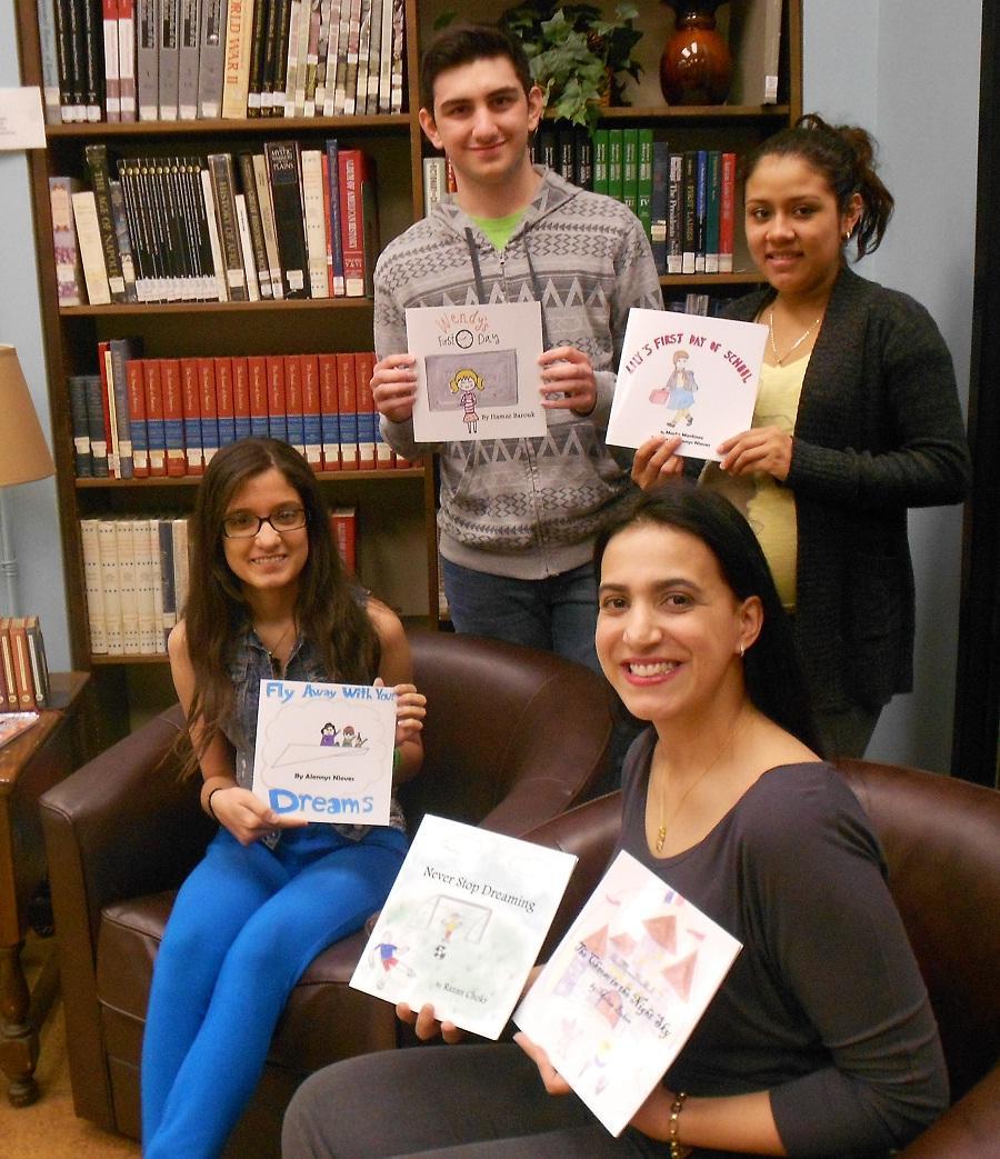 Published authors Alennys Nieves, Hamze Barouk, and Marta Martinez  with their teacher Ms. DaSilva