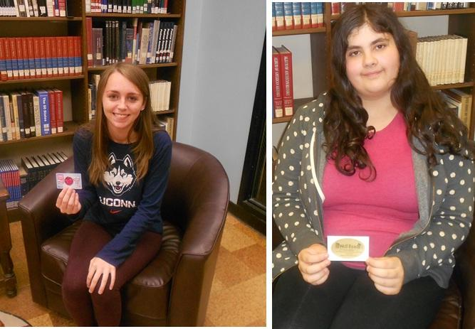 Victoria Jungermann and Bridget Grenier with their gift card prizes.