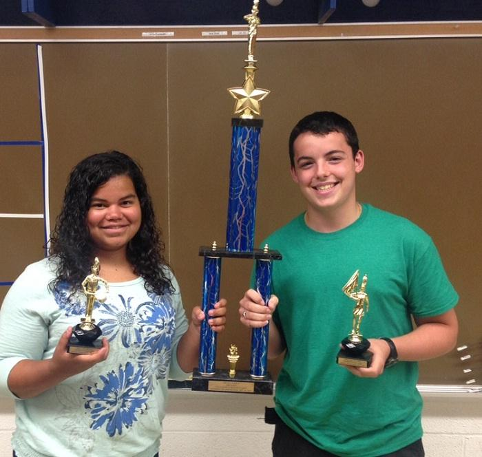 Co-drum majors, Adamarie Santiago and Michael Carone, with 1st Place Kick-Off Classic trophy