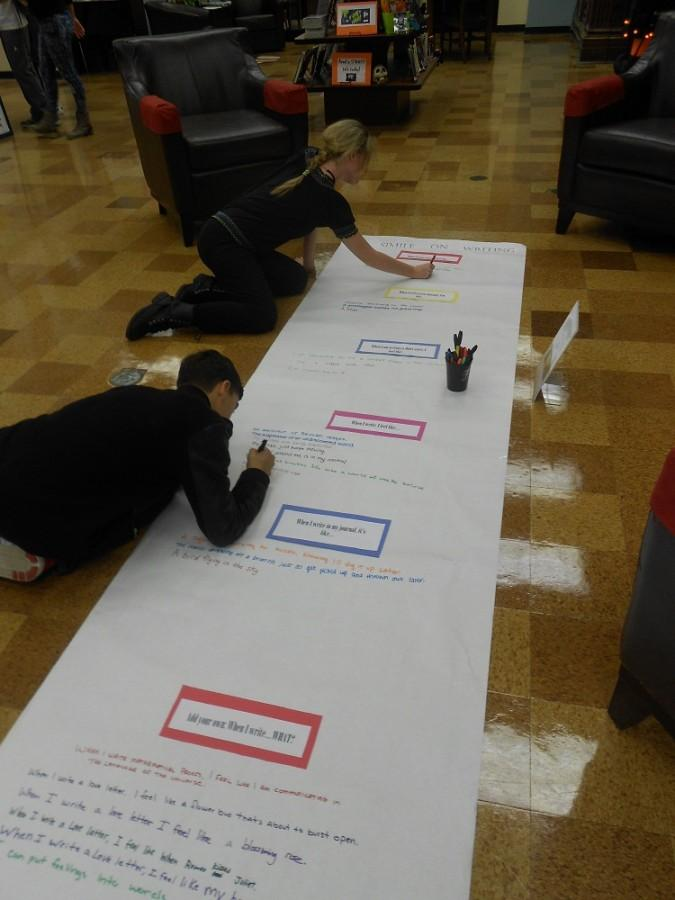 Students writing a living poem to celebrate National Day on Writing