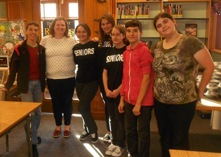 Creative Writing Club students with YA author Sandy Hall