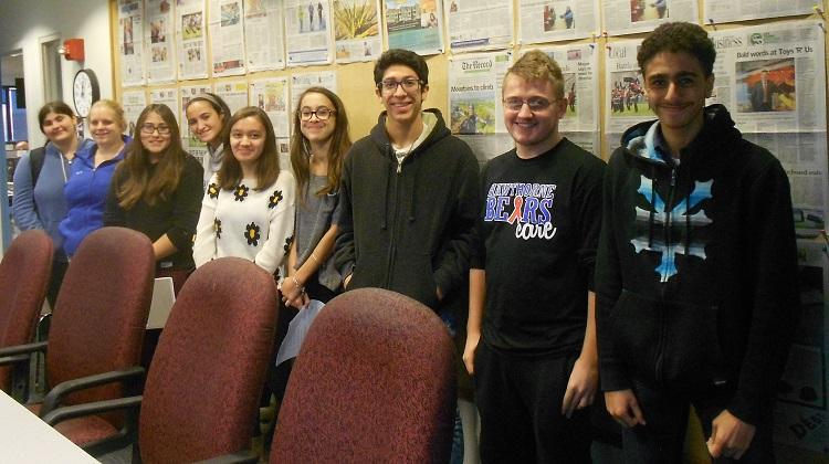 HHS Journalism students at The Record (left to right): Victoria Jungermann, Kayla Simpson, Kaitlyn Melendez, Julia Aguero, Sonia Hadjmustafa, Medina   , Julian Parra, Jeton Hida, and Kareem Habal