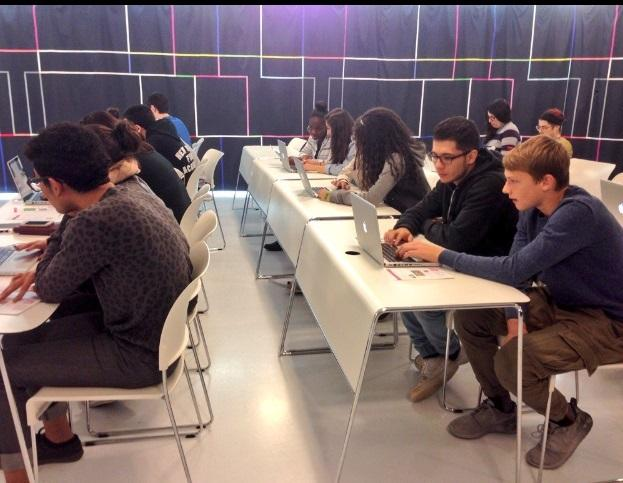HHS students coding video games at the Museum of the Moving Image