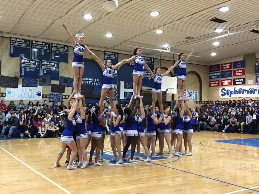 HHS cheerleaders performing at the Winter Pep Rally