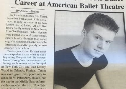 Classic Clarion: Eric Tamm, Senior, Pursues Ballet Career at American Ballet Theatre