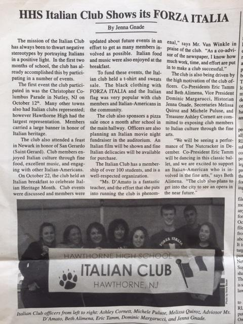HHS Italian Club Shows its FORZA ITALIA