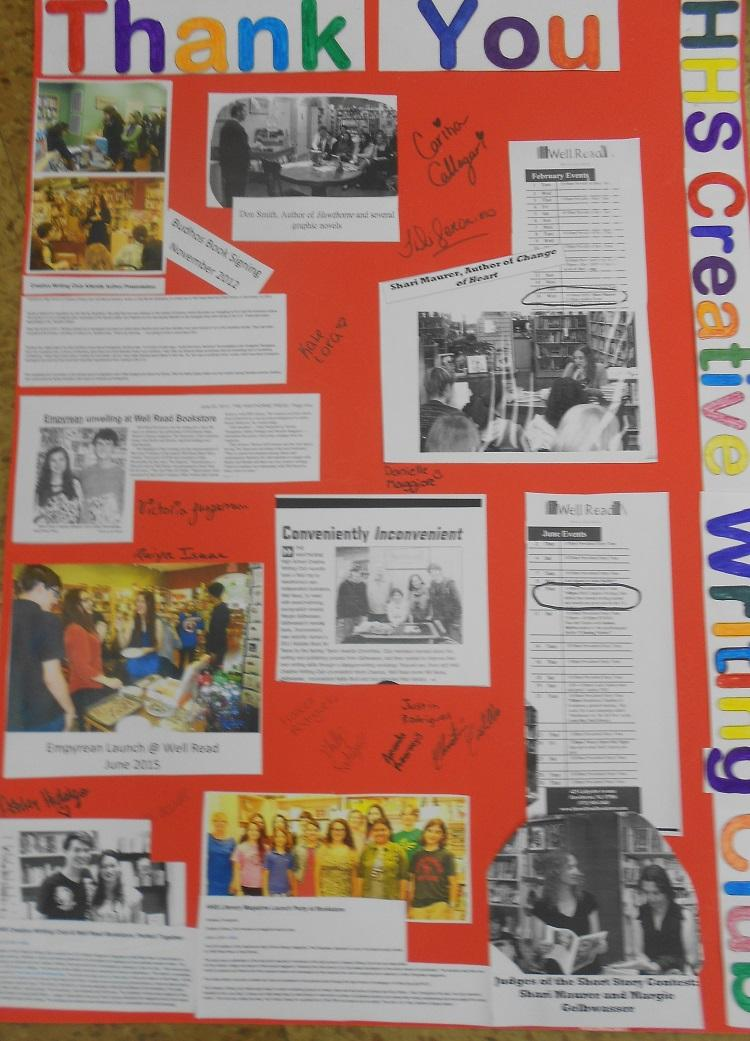 A Thank You card to Well Read Books from the Creative Writing Club