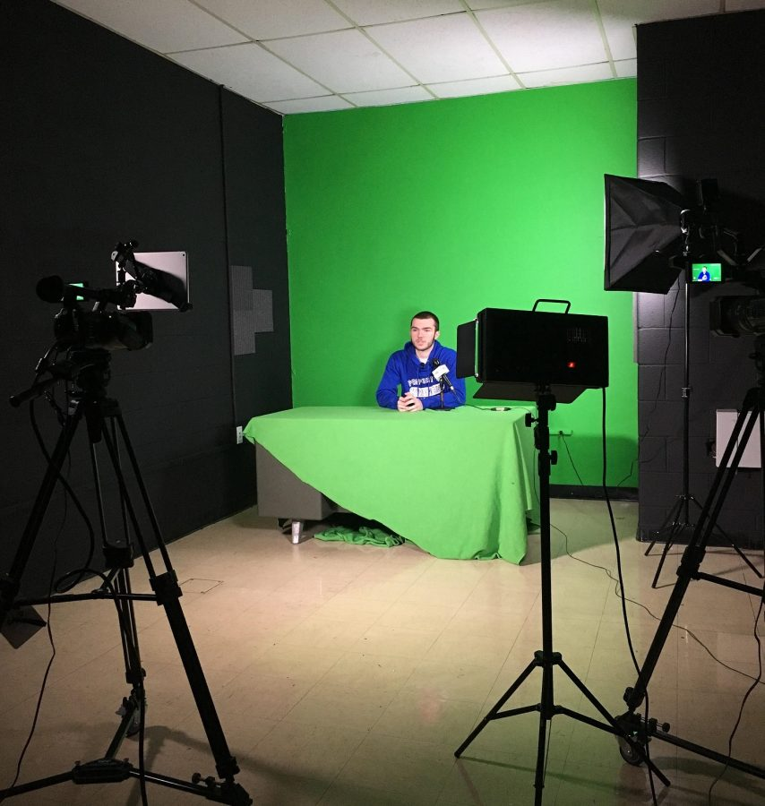 Ryan Morse, senior, does the morning announcements for the Broadcasting Twitter account.