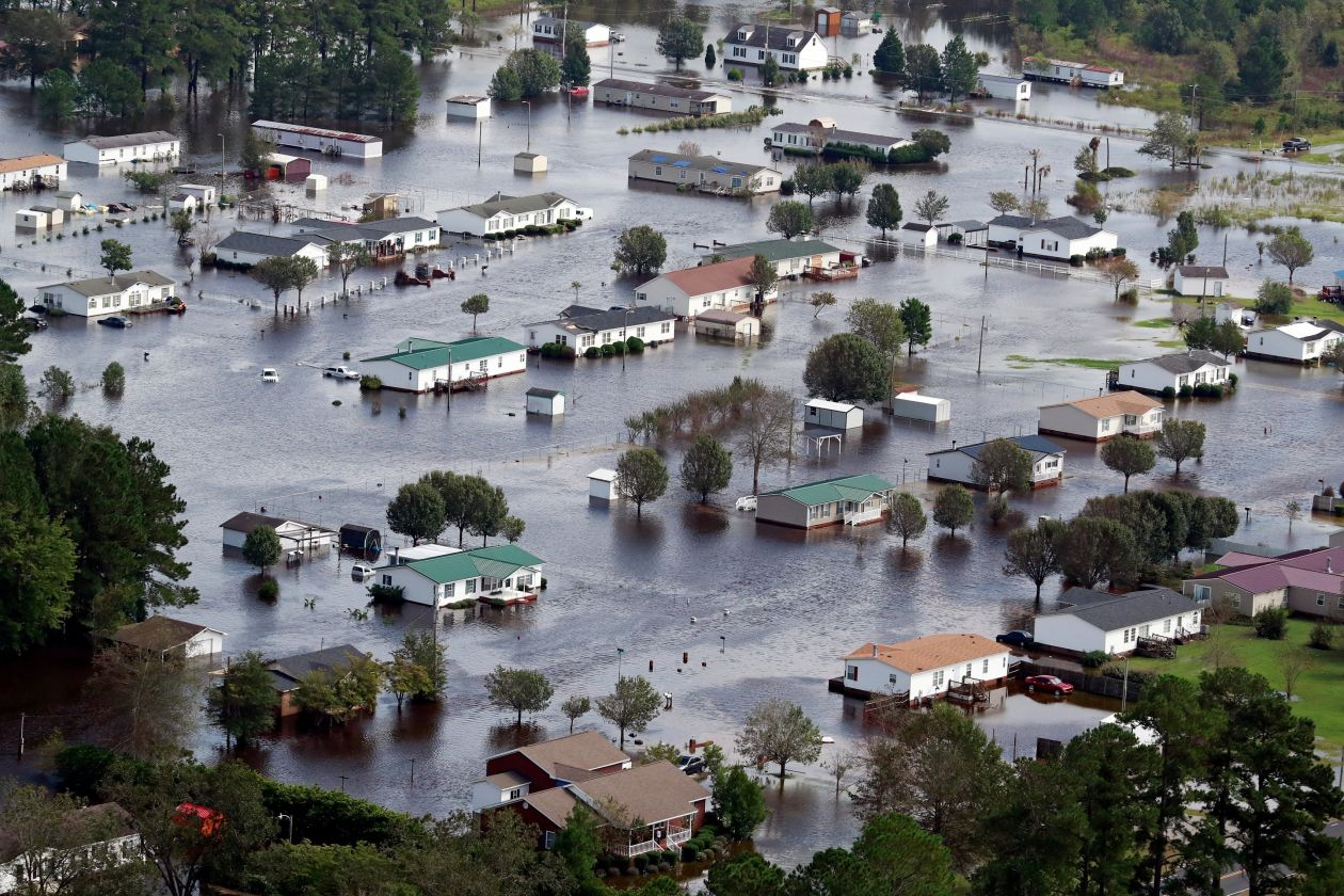 A view of floodwaters from Hurricane Florence on the outskirts of Lumberton, N.C., on Monday