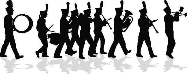 A vector silhouette illustration of a marching band performing wearing their uniforms.