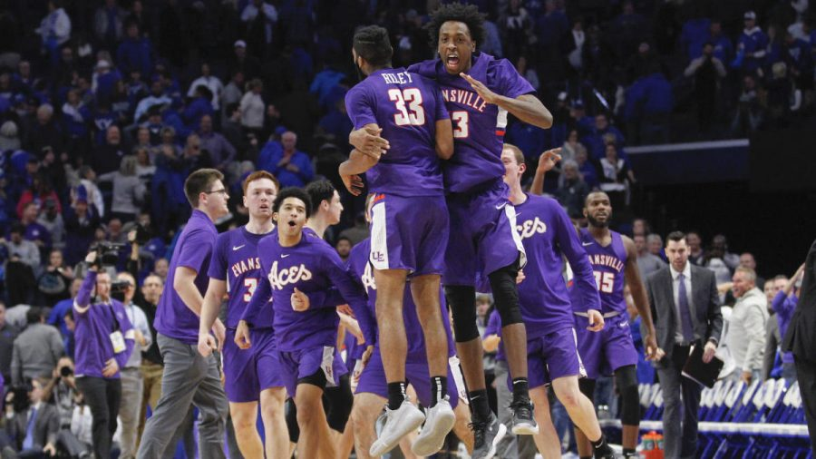 Nov+12%2C+2019%3B+Lexington%2C+KY%2C+USA%3B+Evansville+Purple+Aces+guard+K.J.+Riley+%2833%29+celebrates+with+forward+DeAndre+Williams+%2813%29+after+defeating+the+Kentucky+Wildcats+at+Rupp+Arena.+Mandatory+Credit%3A+Mark+Zerof-USA+TODAY+Sports