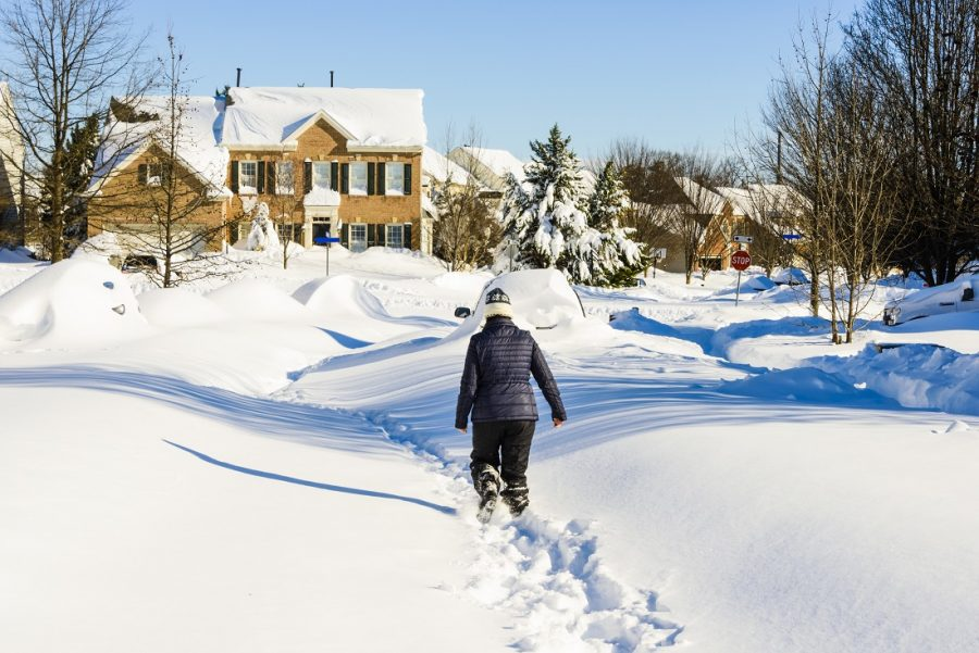 Woman walking through the street covered in deept snow.  The neighborhood road is totally covered in deep snow and cars are buried from a recent blizzard.