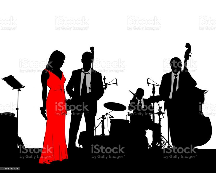 Music+man+and+women+whit+jazz+band+at+concert