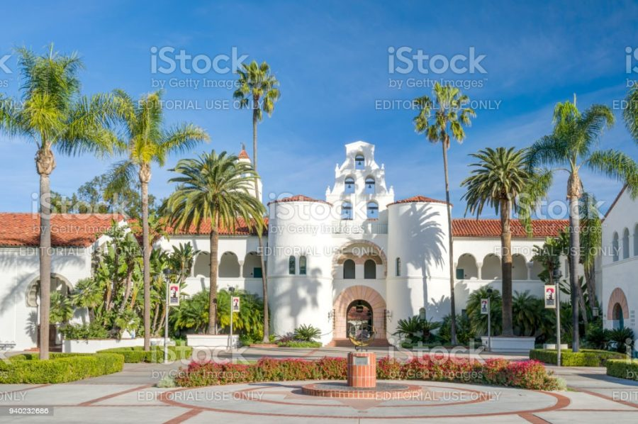 SAN DIEGO, CA/USA - JANUARY 13, 2018: Hepner Hall on the campus of San Diego State University. SDSU, San Diego State is a public research university.