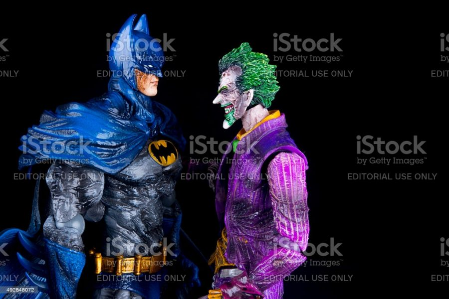 Notre+Dame+De+Lile+Perrot%2C+Canada+-+October15%2C+2015%3A+Horizontal+studio+shot+of+the+Joker+face+to+face+with+Batman+from+DC+Comics.